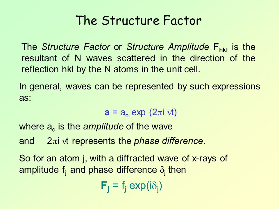 The Structure Factor or Structure Amplitude F hkl is the resultant of N waves scattered in the direction of the reflection hkl by the N atoms in the u