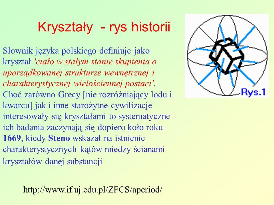Kryształy - rys historii Słownik języka polskiego definiuje jako kryształ 'ciało w stałym stanie skupienia o uporządkowanej strukturze wewnętrznej i c