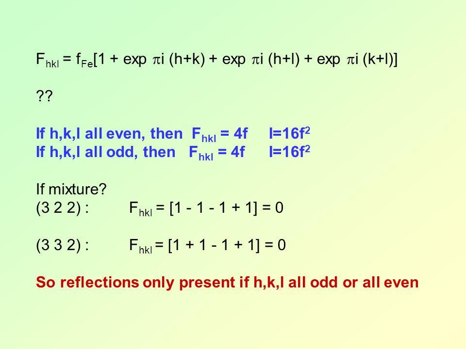 F hkl = f Fe [1 + exp  i (h+k) + exp  i (h+l) + exp  i (k+l)] ?? If h,k,l all even, then F hkl = 4fI=16f 2 If h,k,l all odd, then F hkl = 4fI=16f 2