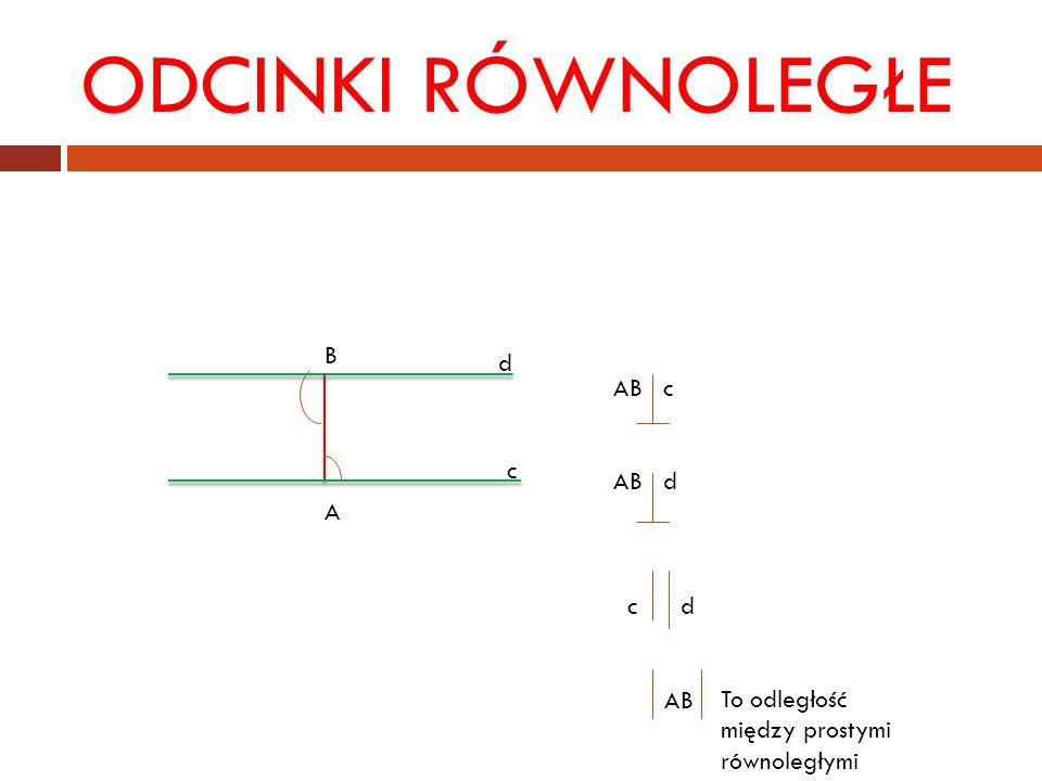 ODCINKI RÓWNOLEGŁE d c BABA AB c AB d c d AB To odległość między prostymi równoległymi