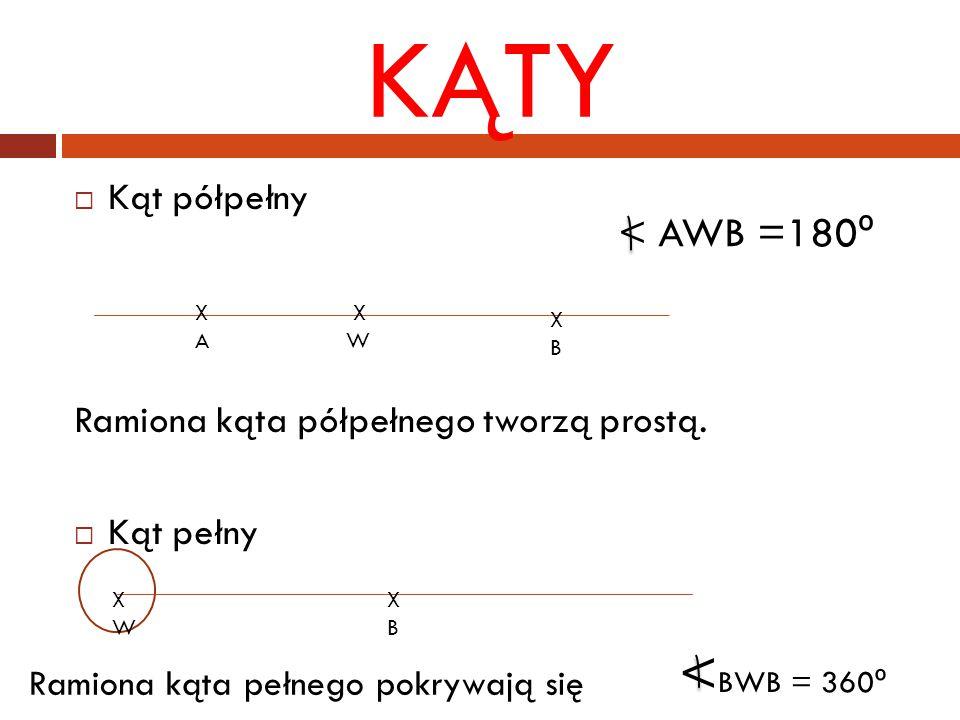 KĄTY  Kąt półpełny Ramiona kąta półpełnego tworzą prostą.  Kąt pełny XAXA X W XBXB < AWB =180 º X B < BWB = 360 º Ramiona kąta pełnego pokrywają się
