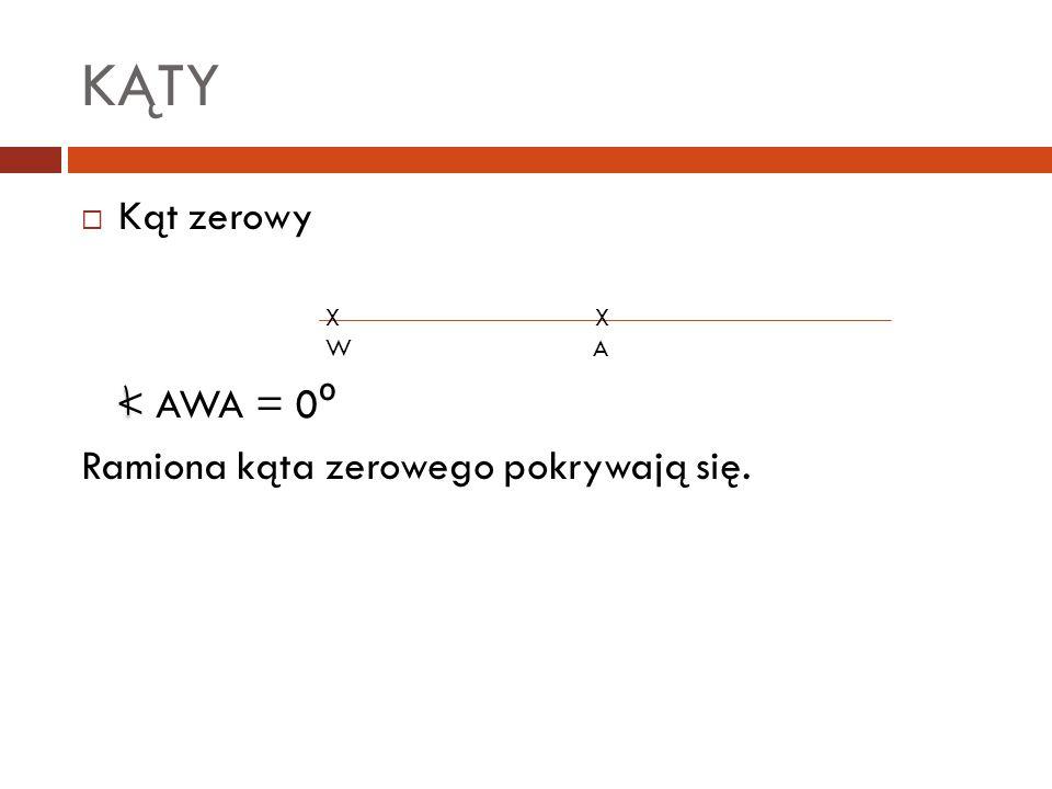 KĄTY  Kąt zerowy < AWA = 0 º Ramiona kąta zerowego pokrywają się. X X W A