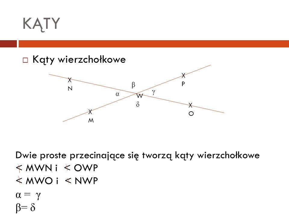KĄTY  Kąty wierzchołkowe WδWδ α β γ XNXN XOXO XMXM XPXP Dwie proste przecinające się tworzą kąty wierzchołkowe < MWN i < OWP < MWO i < NWP α = γ β= δ