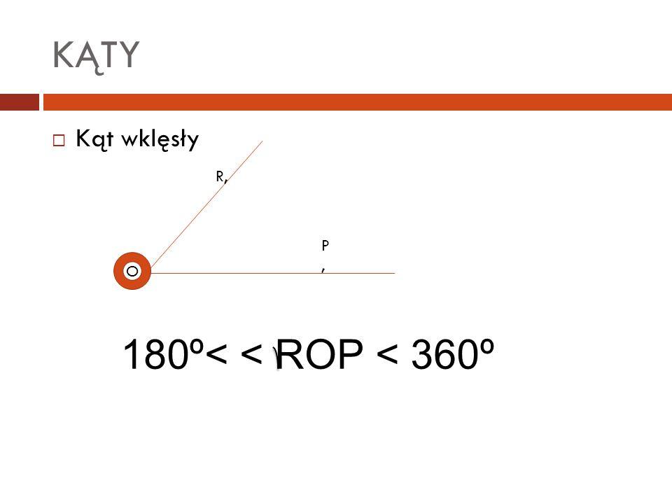 KĄTY  Kąt wklęsły O R, P,P, 180º< < ROP < 360º