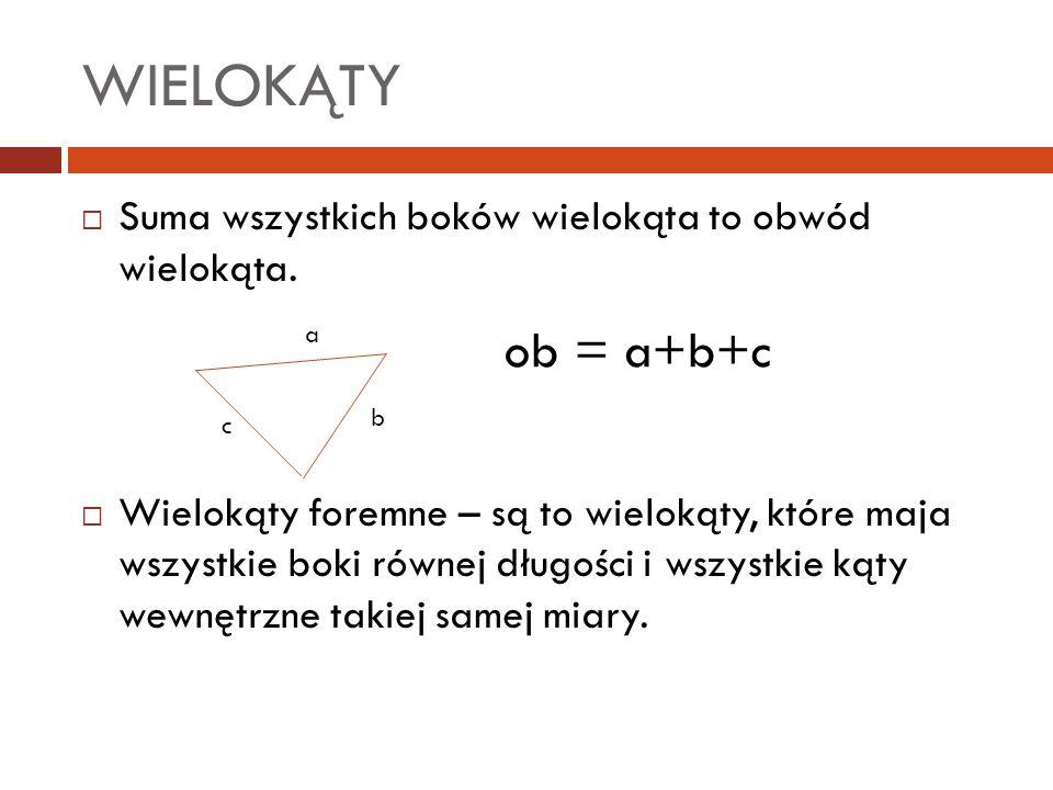 WIELOKĄTY  Suma wszystkich boków wielokąta to obwód wielokąta.  Wielokąty foremne – są to wielokąty, które maja wszystkie boki równej długości i wsz