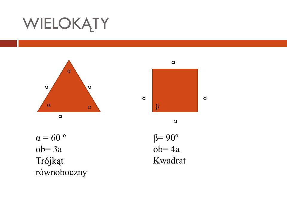 WIELOKĄTY a aa α α α α = 60 º ob= 3a Trójkąt równoboczny a a a a β= 90º ob= 4a Kwadrat β