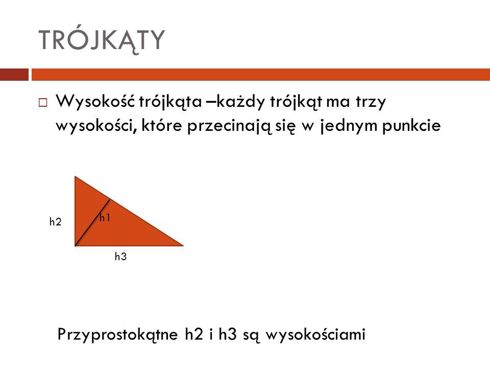 TRÓJKĄTY  Wysokość trójkąta –każdy trójkąt ma trzy wysokości, które przecinają się w jednym punkcie h1 h2 h3 Przyprostokątne h2 i h3 są wysokościami