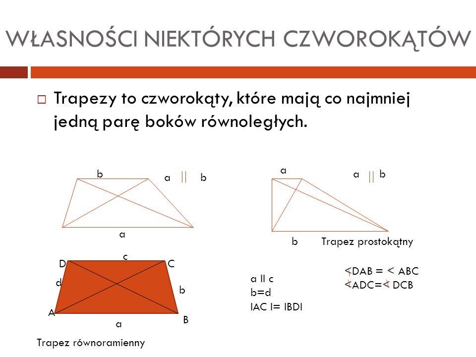 WŁASNOŚCI NIEKTÓRYCH CZWOROKĄTÓW  Trapezy to czworokąty, które mają co najmniej jedną parę boków równoległych. a b a b a b Trapez prostokątny a b c d