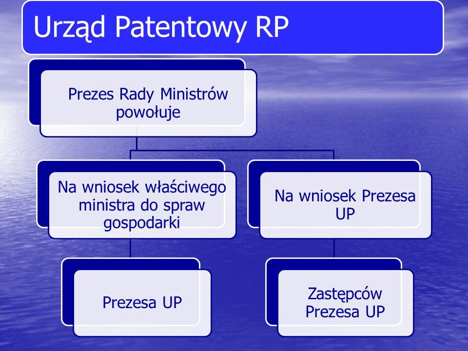 Urząd Patentowy RP Prezes Rady Ministrów powołuje Na wniosek właściwego ministra do spraw gospodarki Prezesa UP Na wniosek Prezesa UP Zastępców Prezes