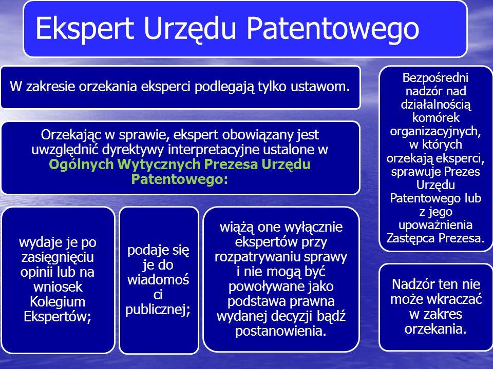 Ekspert Urzędu Patentowego W zakresie orzekania eksperci podlegają tylko ustawom. Orzekając w sprawie, ekspert obowiązany jest uwzględnić dyrektywy in