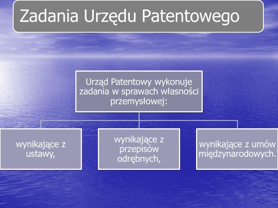 Zadania Urzędu Patentowego Urząd Patentowy wykonuje zadania w sprawach własności przemysłowej: wynikające z ustawy, wynikające z przepisów odrębnych,