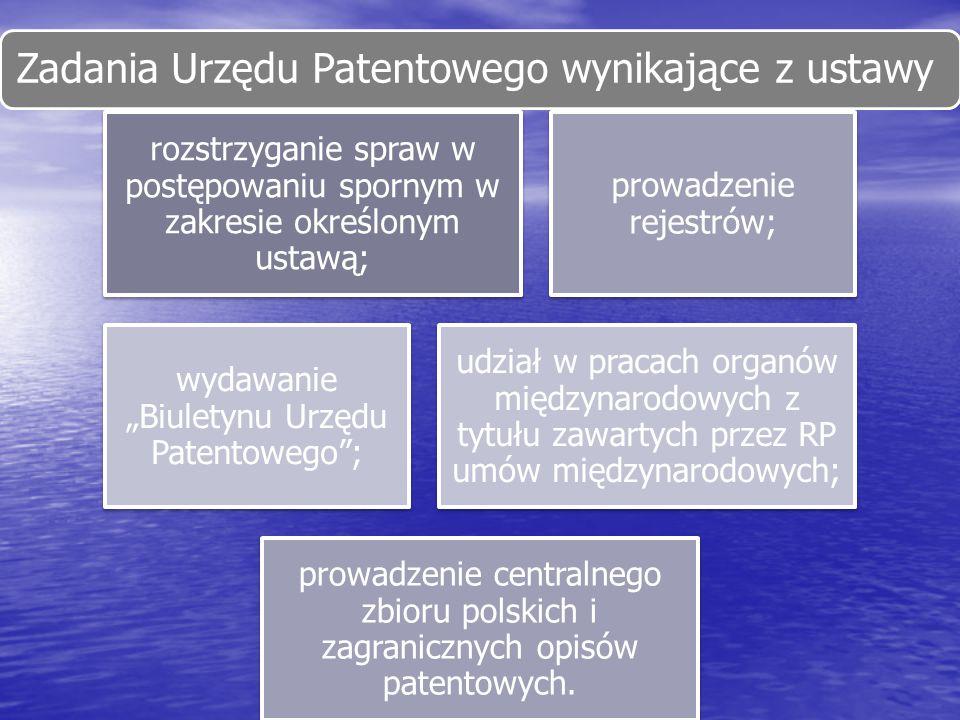 Zadania Urzędu Patentowego wynikające z ustawy rozstrzyganie spraw w postępowaniu spornym w zakresie określonym ustawą; prowadzenie rejestrów; wydawan