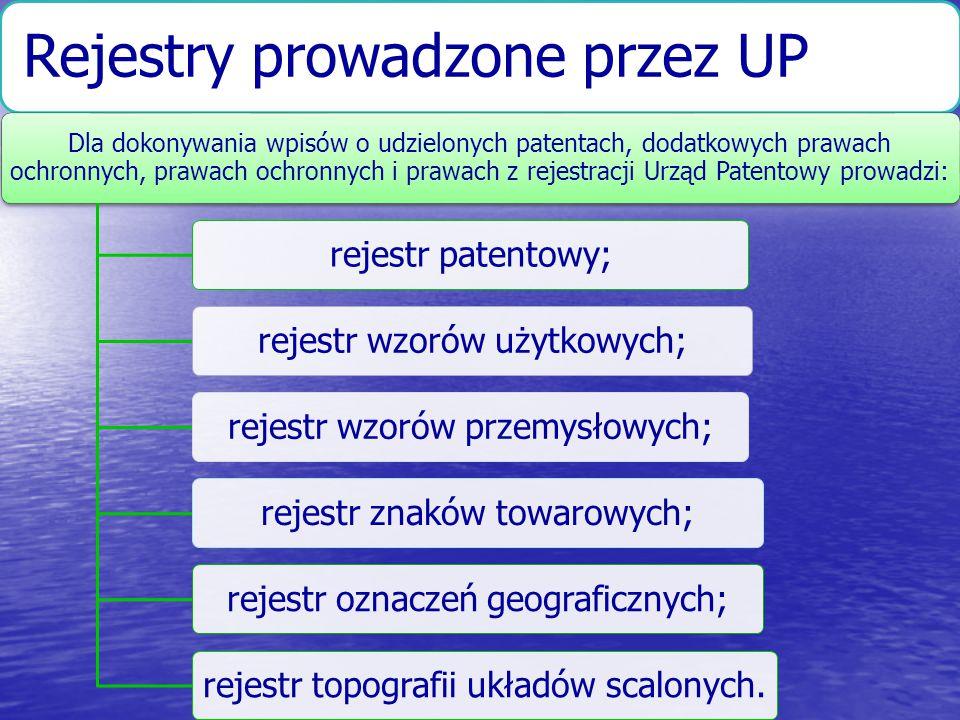 Rejestry prowadzone przez UP Dla dokonywania wpisów o udzielonych patentach, dodatkowych prawach ochronnych, prawach ochronnych i prawach z rejestracj
