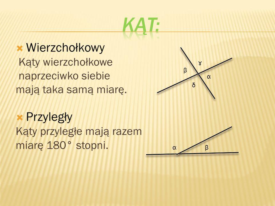  Wierzchołkowy Kąty wierzchołkowe naprzeciwko siebie mają taka samą miarę.  Przyległy Kąty przyległe mają razem miarę 180° stopni. β α ɤ δ αβ