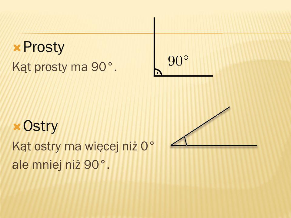  Prosty Kąt prosty ma 90°.  Ostry Kąt ostry ma więcej niż 0° ale mniej niż 90°.