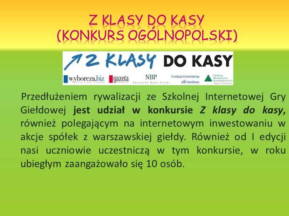 Przedłużeniem rywalizacji ze Szkolnej Internetowej Gry Giełdowej jest udział w konkursie Z klasy do kasy, również polegającym na internetowym inwestowaniu w akcje spółek z warszawskiej giełdy.