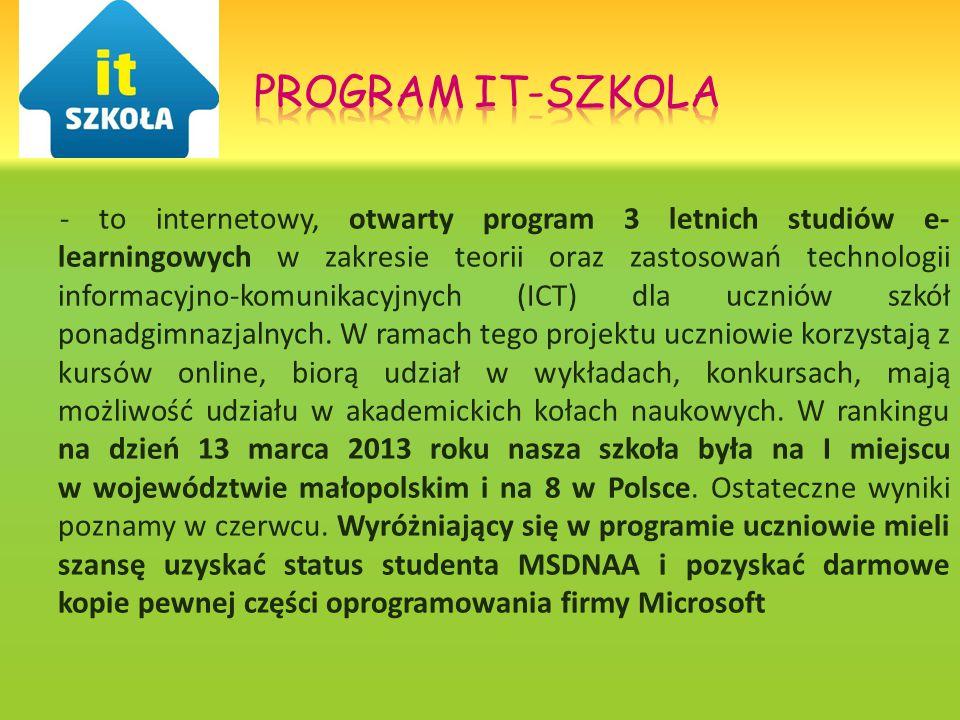 - to internetowy, otwarty program 3 letnich studiów e- learningowych w zakresie teorii oraz zastosowań technologii informacyjno-komunikacyjnych (ICT) dla uczniów szkół ponadgimnazjalnych.