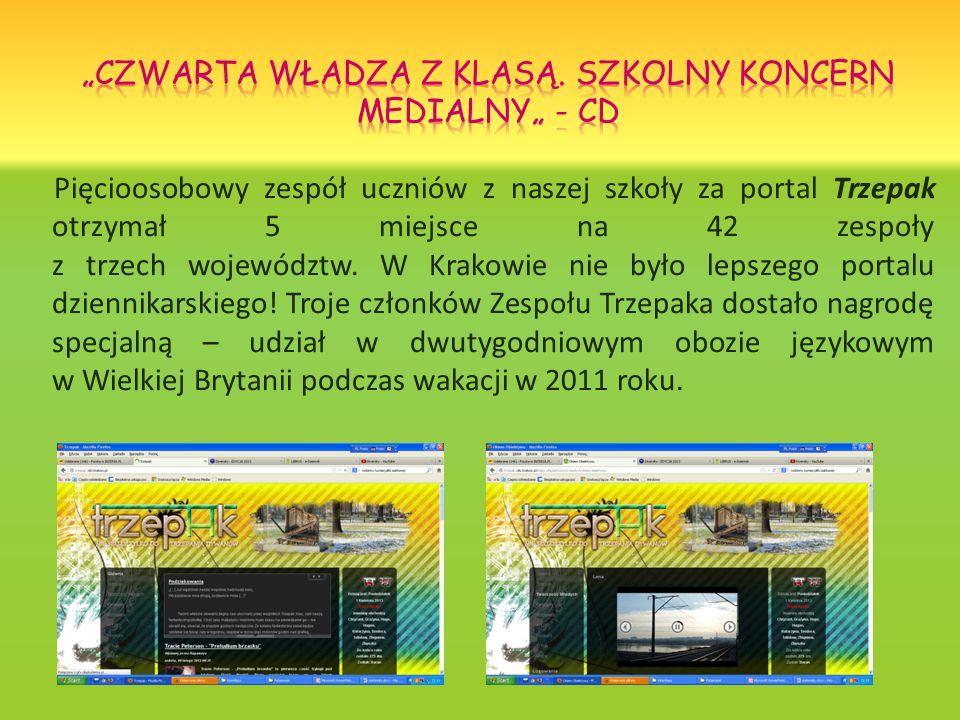 Pięcioosobowy zespół uczniów z naszej szkoły za portal Trzepak otrzymał 5 miejsce na 42 zespoły z trzech województw.