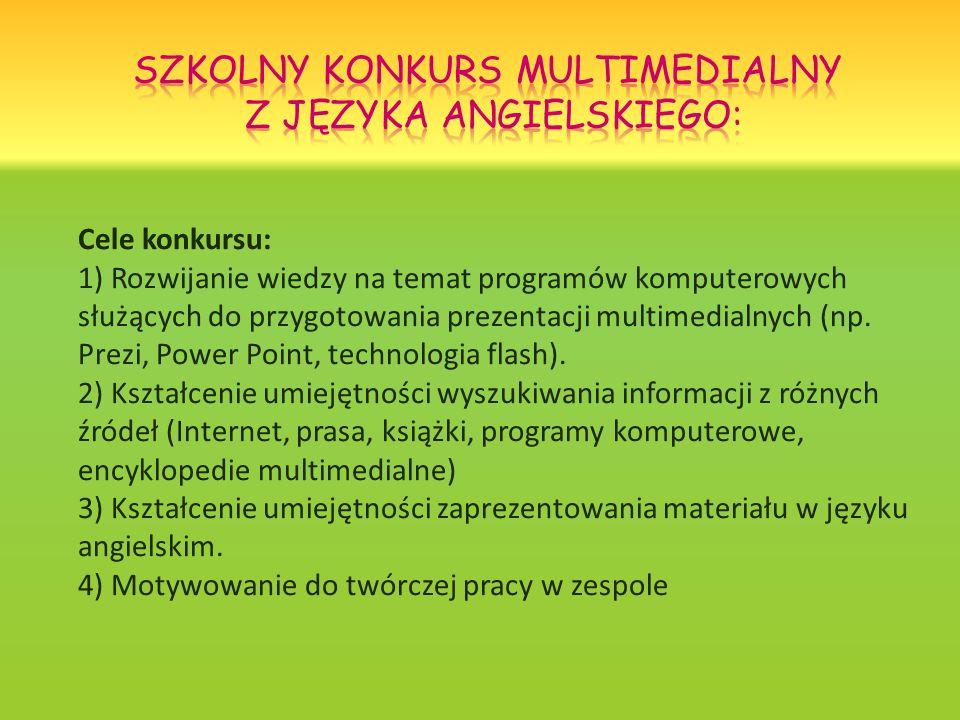 Cele konkursu: 1) Rozwijanie wiedzy na temat programów komputerowych służących do przygotowania prezentacji multimedialnych (np.