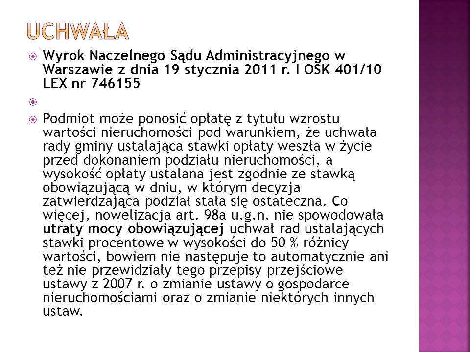  Wyrok Naczelnego Sądu Administracyjnego w Warszawie z dnia 19 stycznia 2011 r. I OSK 401/10 LEX nr 746155   Podmiot może ponosić opłatę z tytułu w