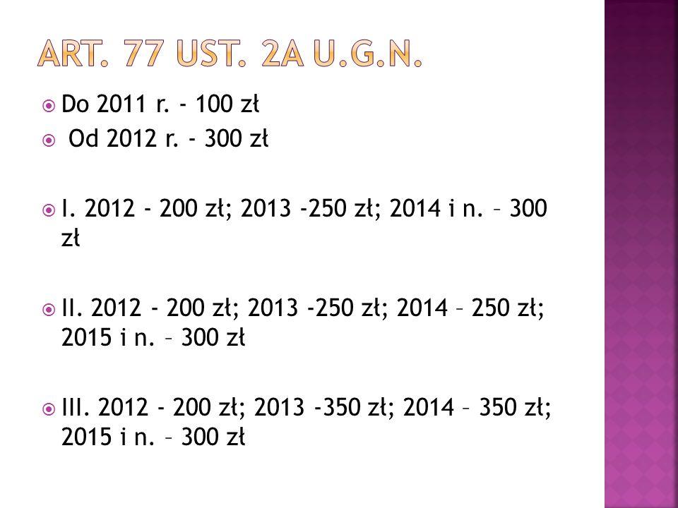  Do 2011 r. - 100 zł  Od 2012 r. - 300 zł  I. 2012 - 200 zł; 2013 -250 zł; 2014 i n. – 300 zł  II. 2012 - 200 zł; 2013 -250 zł; 2014 – 250 zł; 201
