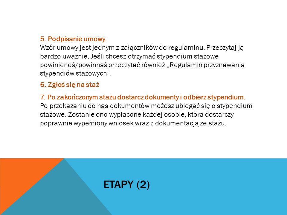 ETAPY (2) 5. Podpisanie umowy. Wzór umowy jest jednym z załączników do regulaminu.