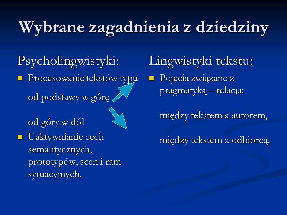 Wybrane zagadnienia z dziedziny Psycholingwistyki: Procesowanie tekstów typu od podstawy w górę od góry w dół Uaktywnianie cech semantycznych, prototy