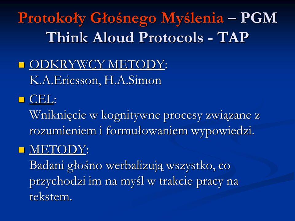 Protokoły Głośnego Myślenia – PGM Think Aloud Protocols - TAP ODKRYWCY METODY: K.A.Ericsson, H.A.Simon ODKRYWCY METODY: K.A.Ericsson, H.A.Simon CEL: W