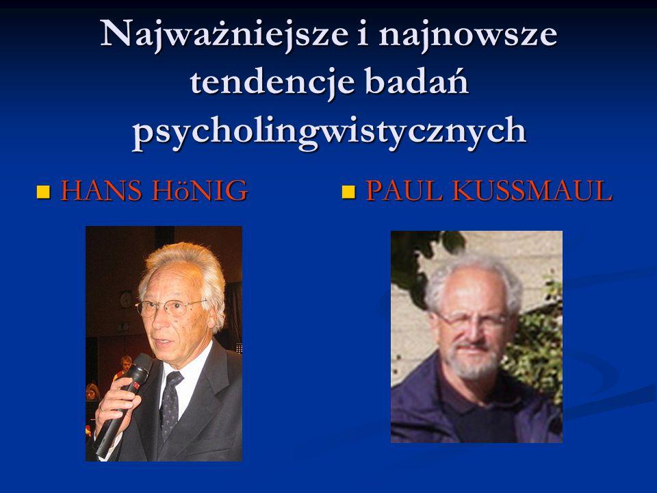 HANS HöNIG HANS HöNIG PAUL KUSSMAUL Najważniejsze i najnowsze tendencje badań psycholingwistycznych