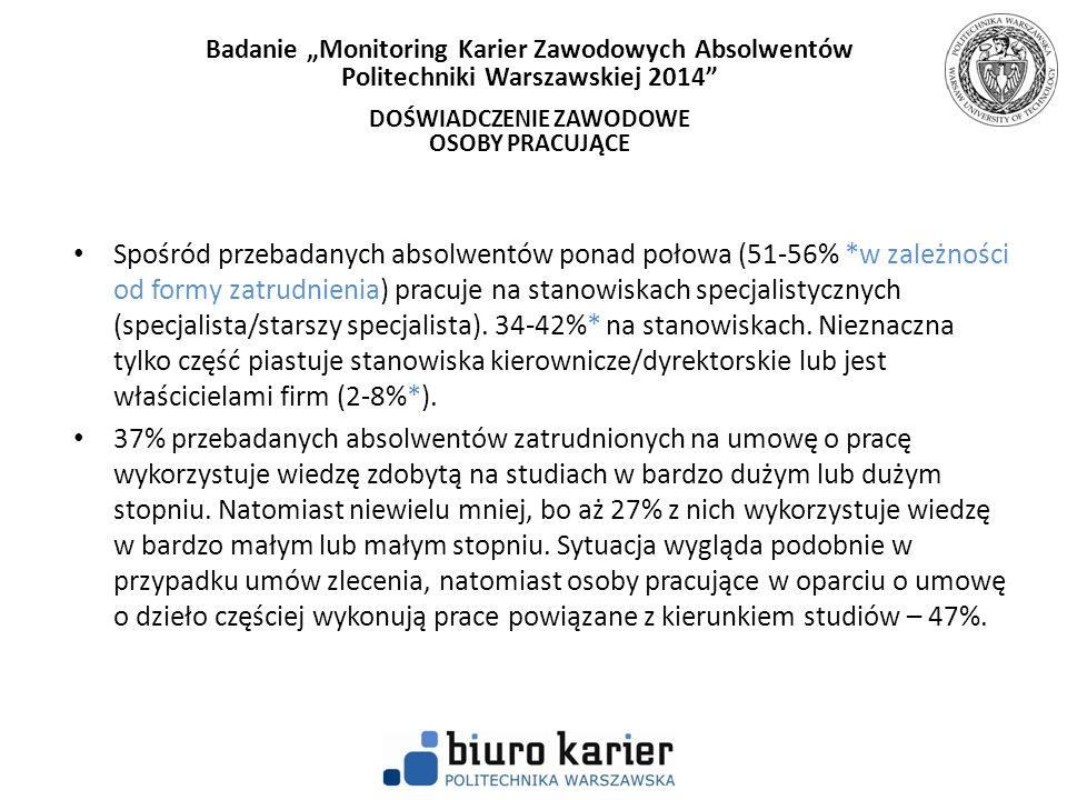 Spośród przebadanych absolwentów ponad połowa (51-56% *w zależności od formy zatrudnienia) pracuje na stanowiskach specjalistycznych (specjalista/star