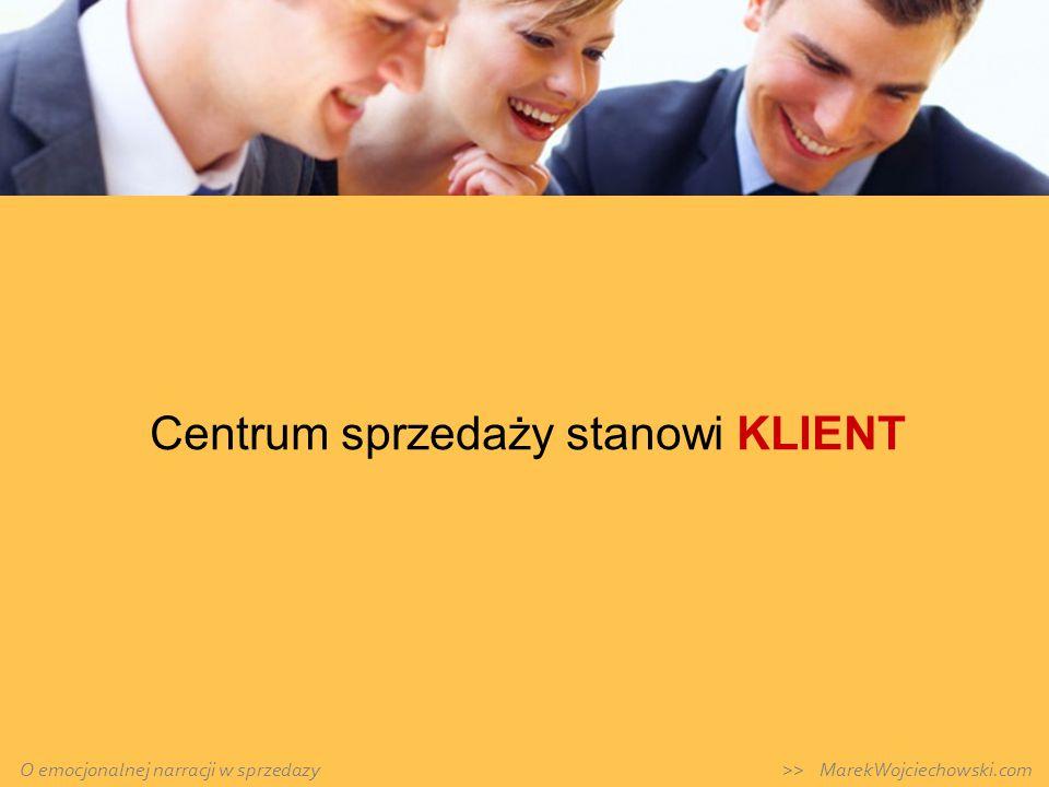 Centrum sprzedaży stanowi KLIENT O emocjonalnej narracji w sprzedazy >> MarekWojciechowski.com