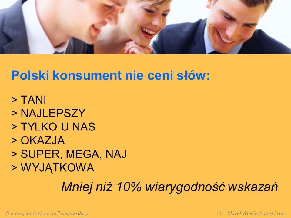 Polski konsument nie ceni słów: > TANI > NAJLEPSZY > TYLKO U NAS > OKAZJA > SUPER, MEGA, NAJ > WYJĄTKOWA Mniej niż 10% wiarygodność wskazań O emocjona