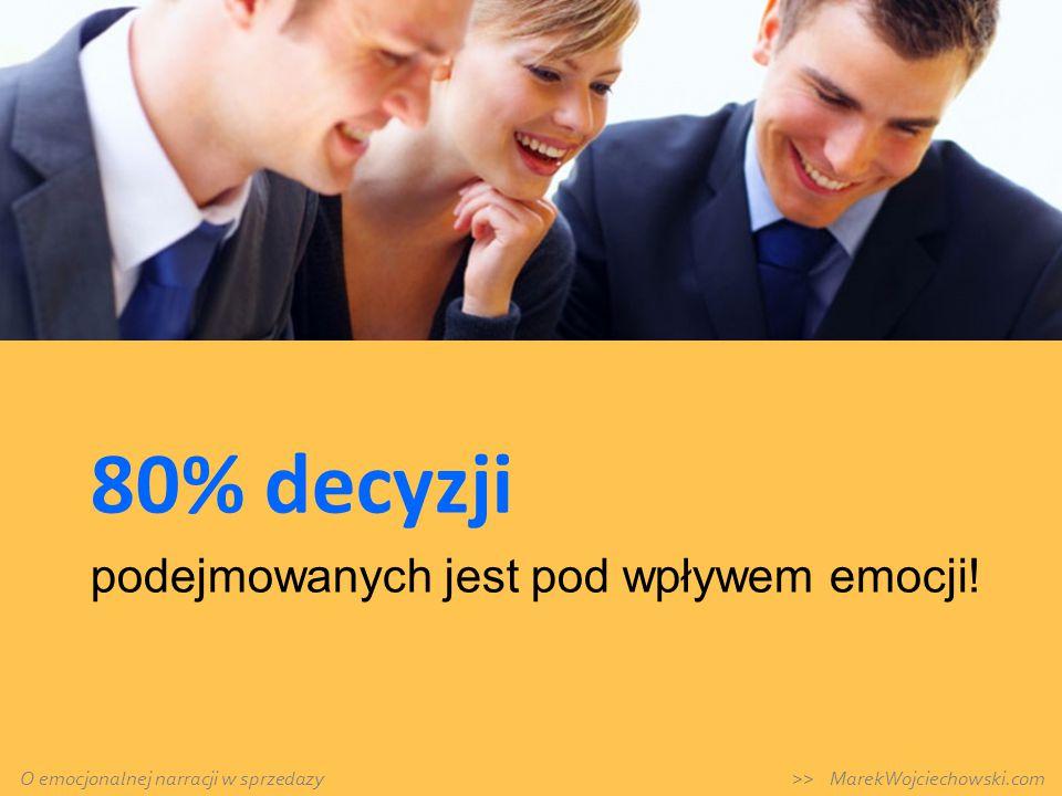 80% decyzji podejmowanych jest pod wpływem emocji! O emocjonalnej narracji w sprzedazy >> MarekWojciechowski.com