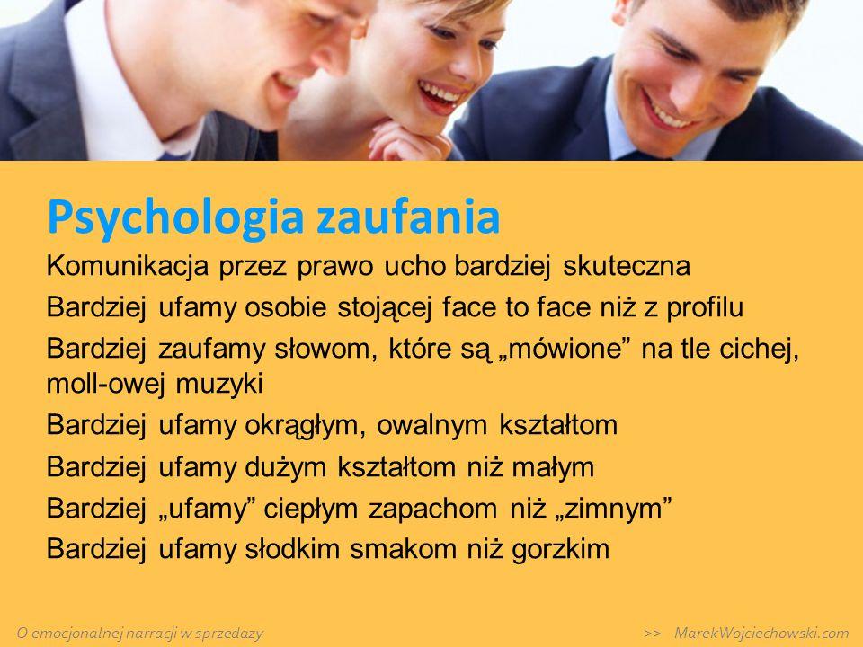 Psychologia zaufania Komunikacja przez prawo ucho bardziej skuteczna Bardziej ufamy osobie stojącej face to face niż z profilu Bardziej zaufamy słowom