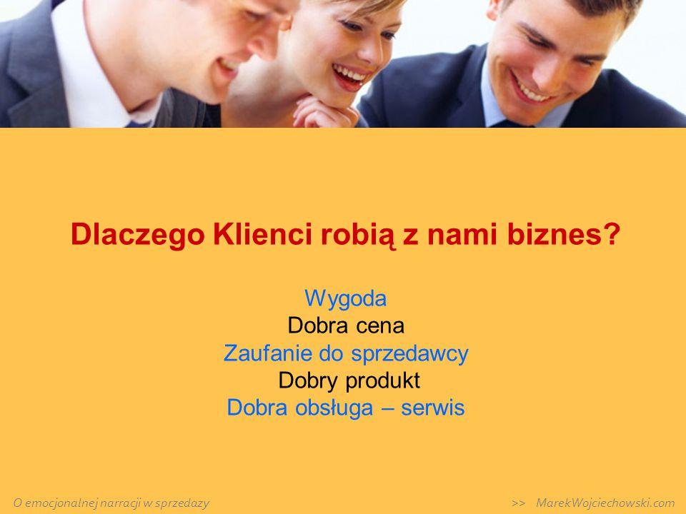 Dlaczego Klienci robią z nami biznes? Wygoda Dobra cena Zaufanie do sprzedawcy Dobry produkt Dobra obsługa – serwis O emocjonalnej narracji w sprzedaz