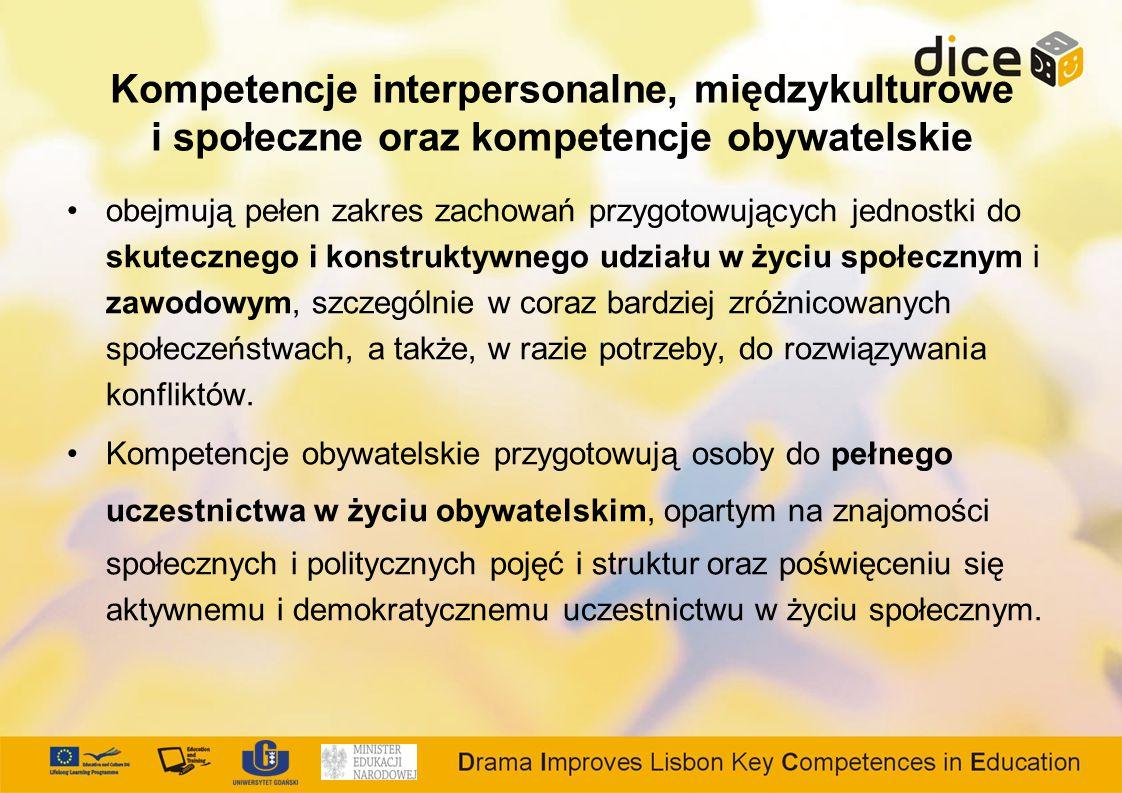 Kompetencje interpersonalne, międzykulturowe i społeczne oraz kompetencje obywatelskie obejmują pełen zakres zachowań przygotowujących jednostki do skutecznego i konstruktywnego udziału w życiu społecznym i zawodowym, szczególnie w coraz bardziej zróżnicowanych społeczeństwach, a także, w razie potrzeby, do rozwiązywania konfliktów.