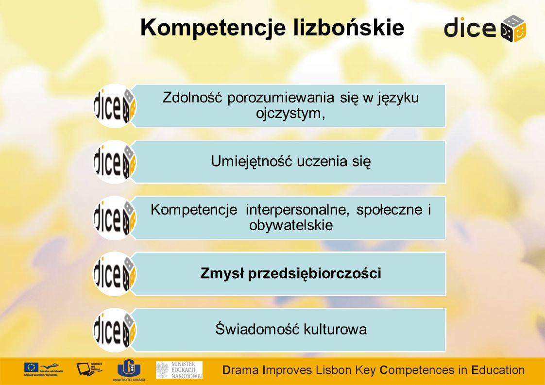 Kompetencje lizbońskie Zdolność porozumiewania się w języku ojczystym, Umiejętność uczenia się Kompetencje interpersonalne, społeczne i obywatelskie Zmysł przedsiębiorczości Świadomość kulturowa