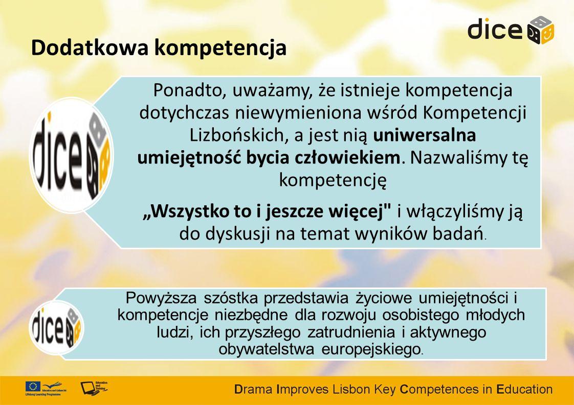 Dodatkowa kompetencja Ponadto, uważamy, że istnieje kompetencja dotychczas niewymieniona wśród Kompetencji Lizbońskich, a jest nią uniwersalna umiejętność bycia człowiekiem.