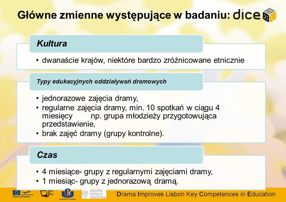 Główne zmienne występujące w badaniu: dwanaście krajów, niektóre bardzo zróżnicowane etnicznie Kultura jednorazowe zajęcia dramy, regularne zajęcia dramy, min.