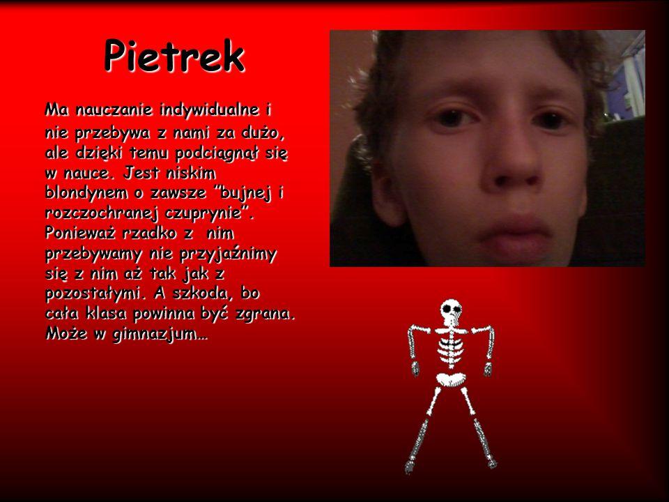 """Pietrek Ma nauczanie indywidualne i nie przebywa z nami za dużo, ale dzięki temu podciągnął się w nauce. Jest niskim blondynem o zawsze """"bujnej i rozc"""