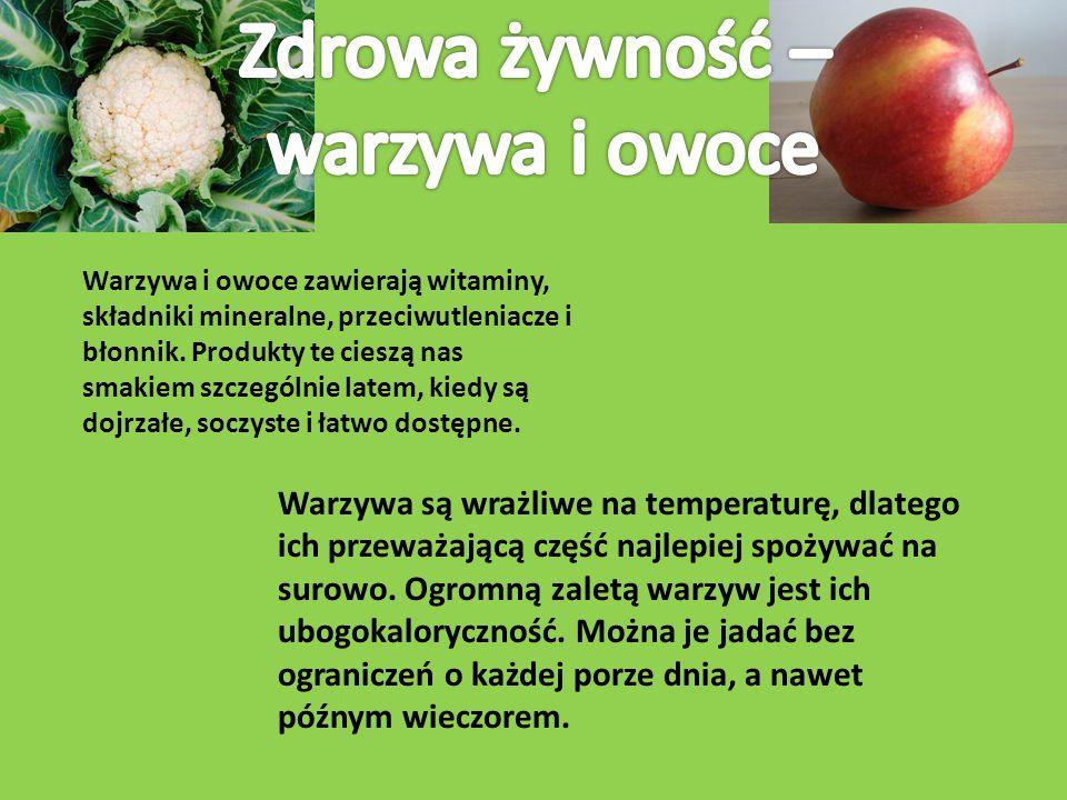 Warzywa i owoce zawierają witaminy, składniki mineralne, przeciwutleniacze i błonnik. Produkty te cieszą nas smakiem szczególnie latem, kiedy są dojrz