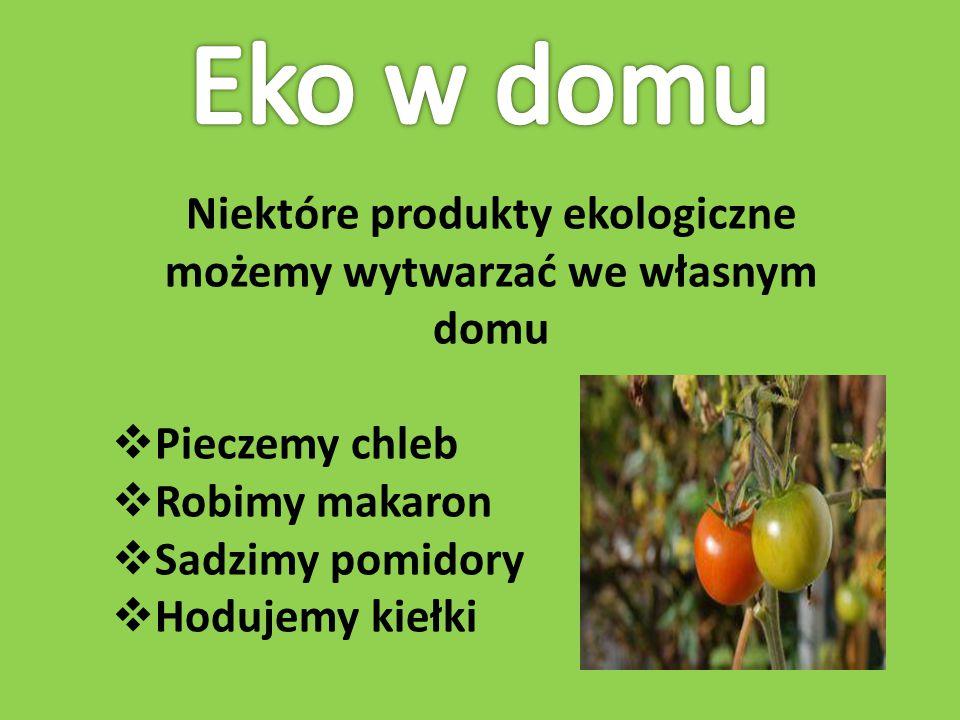 Niektóre produkty ekologiczne możemy wytwarzać we własnym domu  Pieczemy chleb  Robimy makaron  Sadzimy pomidory  Hodujemy kiełki
