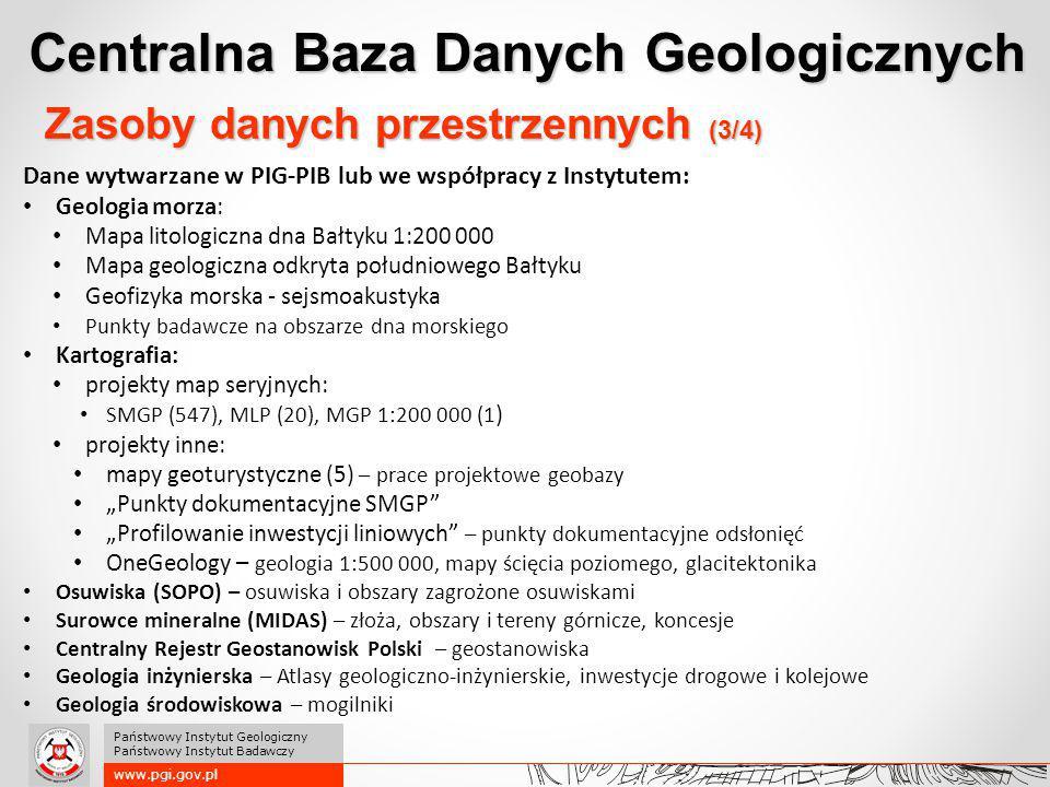 Centralna Baza Danych Geologicznych www.pgi.gov.pl Państwowy Instytut Geologiczny Państwowy Instytut Badawczy Zasoby danych przestrzennych (3/4) Dane