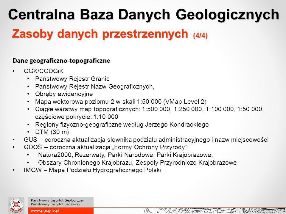 www.pgi.gov.pl Państwowy Instytut Geologiczny Państwowy Instytut Badawczy Dane geograficzno-topograficzne GGK/CODGiK Państwowy Rejestr Granic Państwow