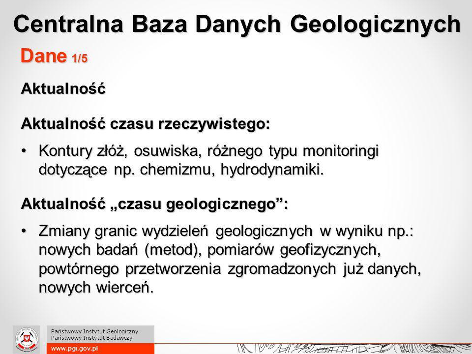 www.pgi.gov.pl Państwowy Instytut Geologiczny Państwowy Instytut Badawczy Dane 1/5 Aktualność czasu rzeczywistego: Kontury złóż, osuwiska, różnego typ