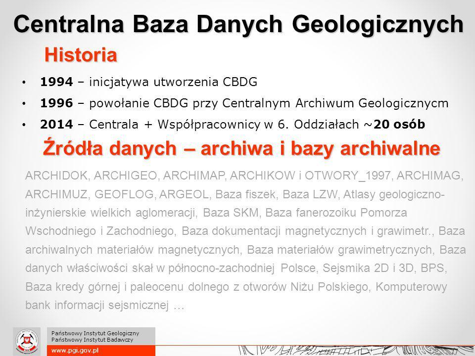 1994 – inicjatywa utworzenia CBDG 1996 – powołanie CBDG przy Centralnym Archiwum Geologicznycm 2014 – Centrala + Współpracownicy w 6. Oddziałach ~20 o