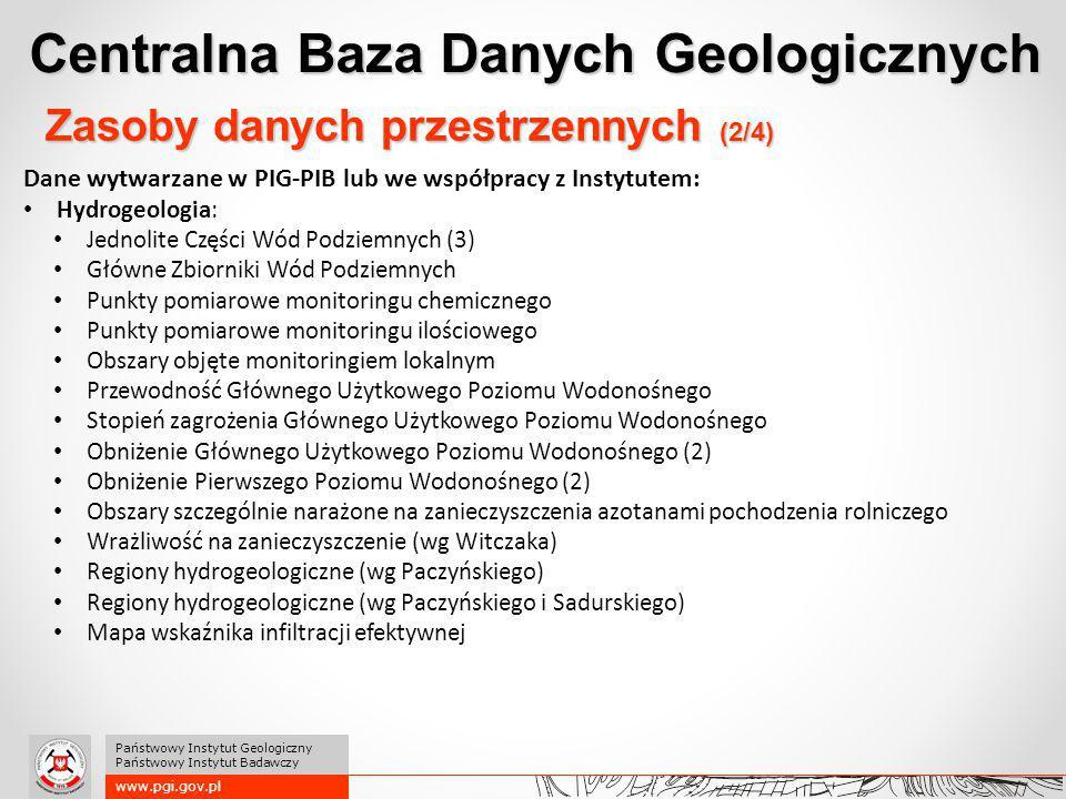 Centralna Baza Danych Geologicznych www.pgi.gov.pl Państwowy Instytut Geologiczny Państwowy Instytut Badawczy Zasoby danych przestrzennych (2/4) Dane