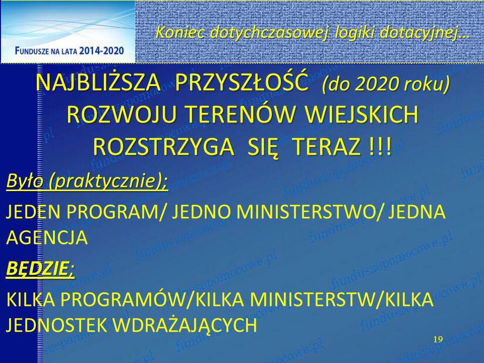 NAJBLIŻSZA PRZYSZŁOŚĆ (do 2020 roku) ROZWOJU TERENÓW WIEJSKICH ROZSTRZYGA SIĘ TERAZ !!.