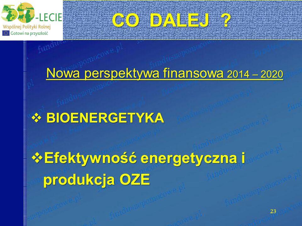 23 Nowa perspektywa finansowa 2014 – 2020  BIOENERGETYKA  Efektywność energetyczna i produkcja OZE produkcja OZE CO DALEJ .