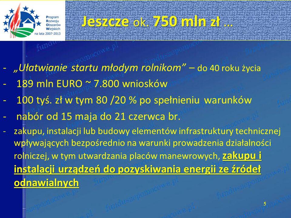 Jeszcze ok.750 mln zł … Jeszcze ok.